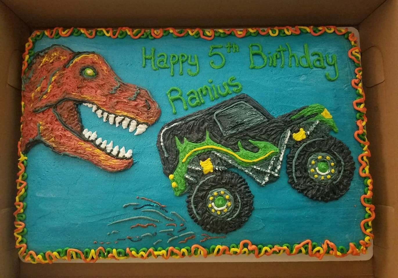 Dinosaurs And Monster Trucks Grave Digger T Rex Boys Birthday Monster Truck Birthday Cake Truck Birthday Cakes Monster Truck Birthday