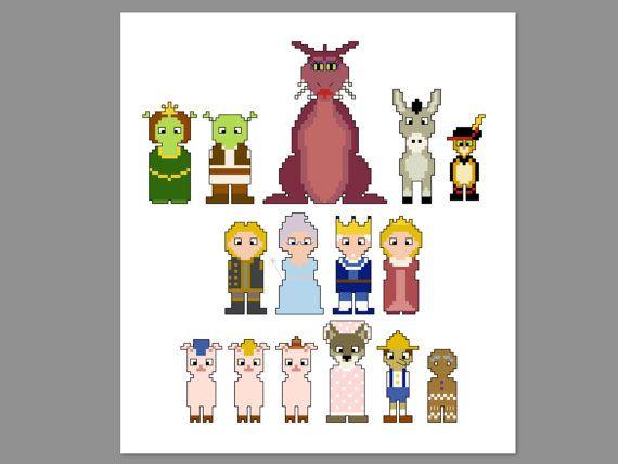 Shrek 2 Pixel People Character Cross Stitch Pdf Pattern Only Cross Stitch Pixel Art Design Shrek