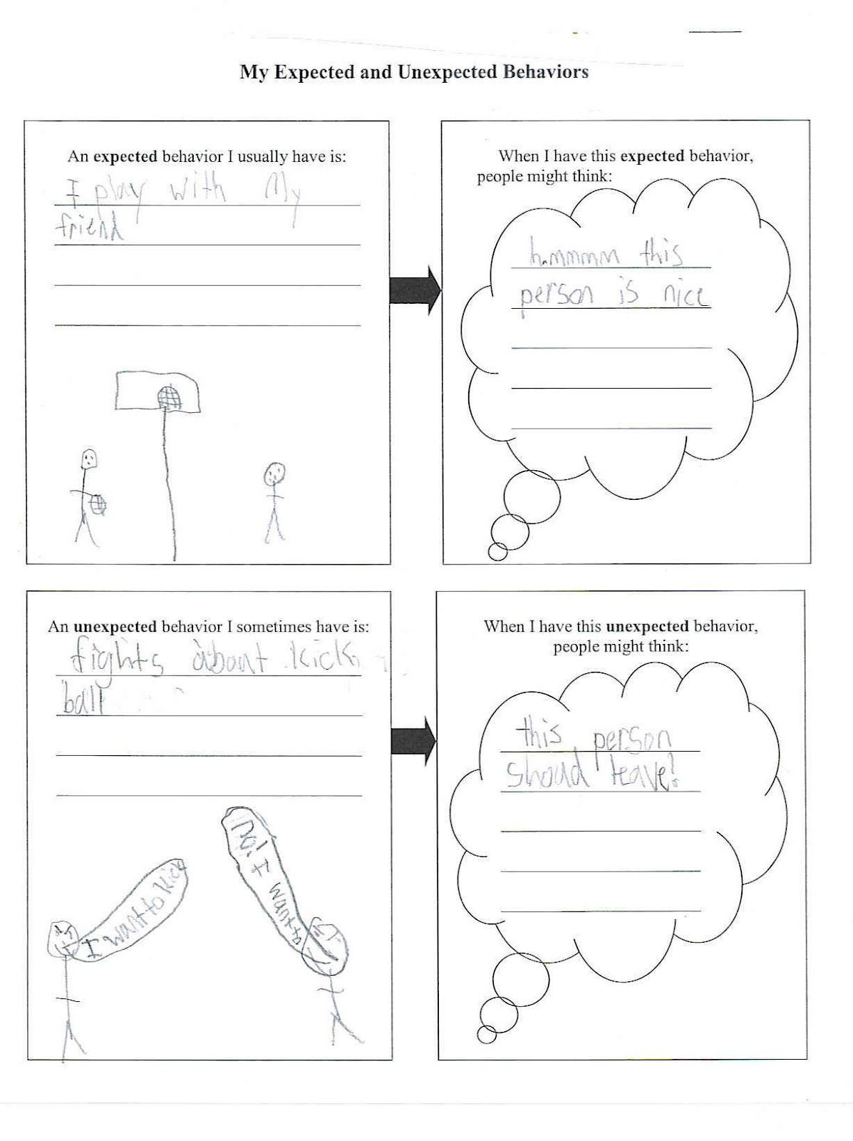 Expected Unexpected Behavior Worksheet Kids Worksheets