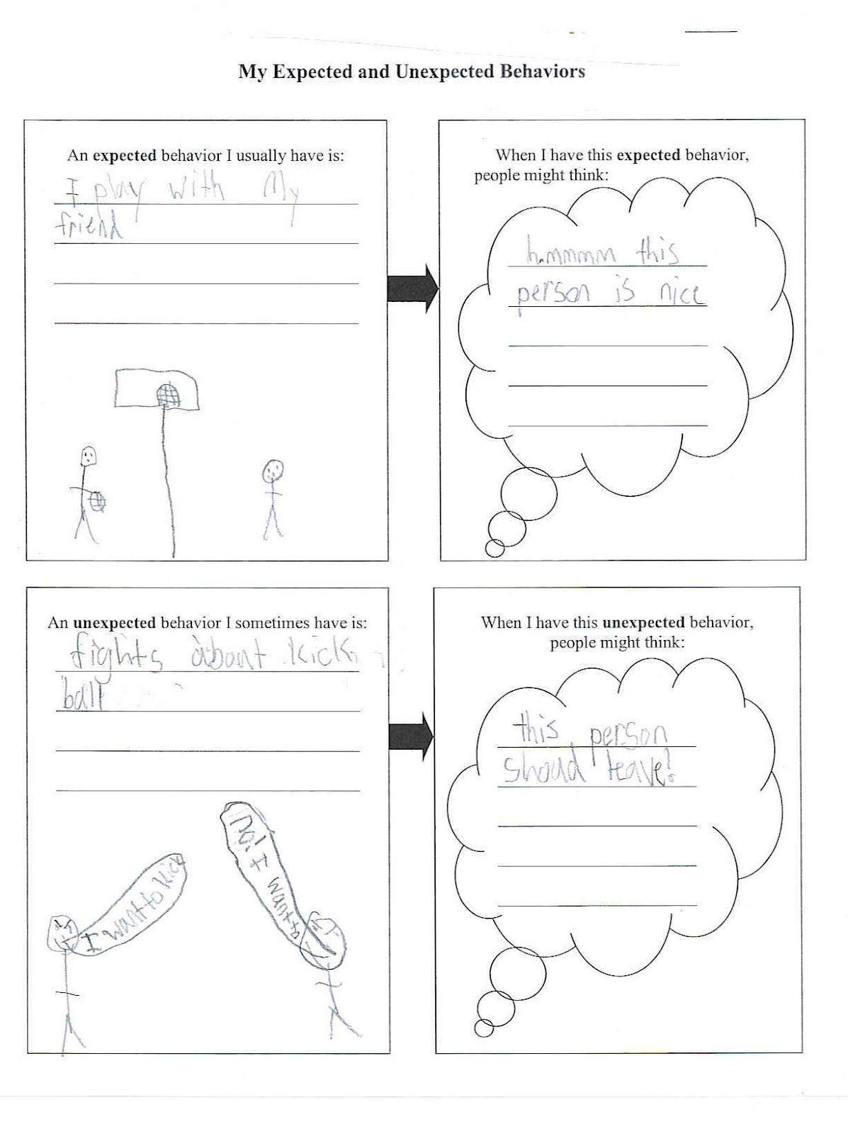 Expected Unexpected Behavior Worksheet Kids Worksheets