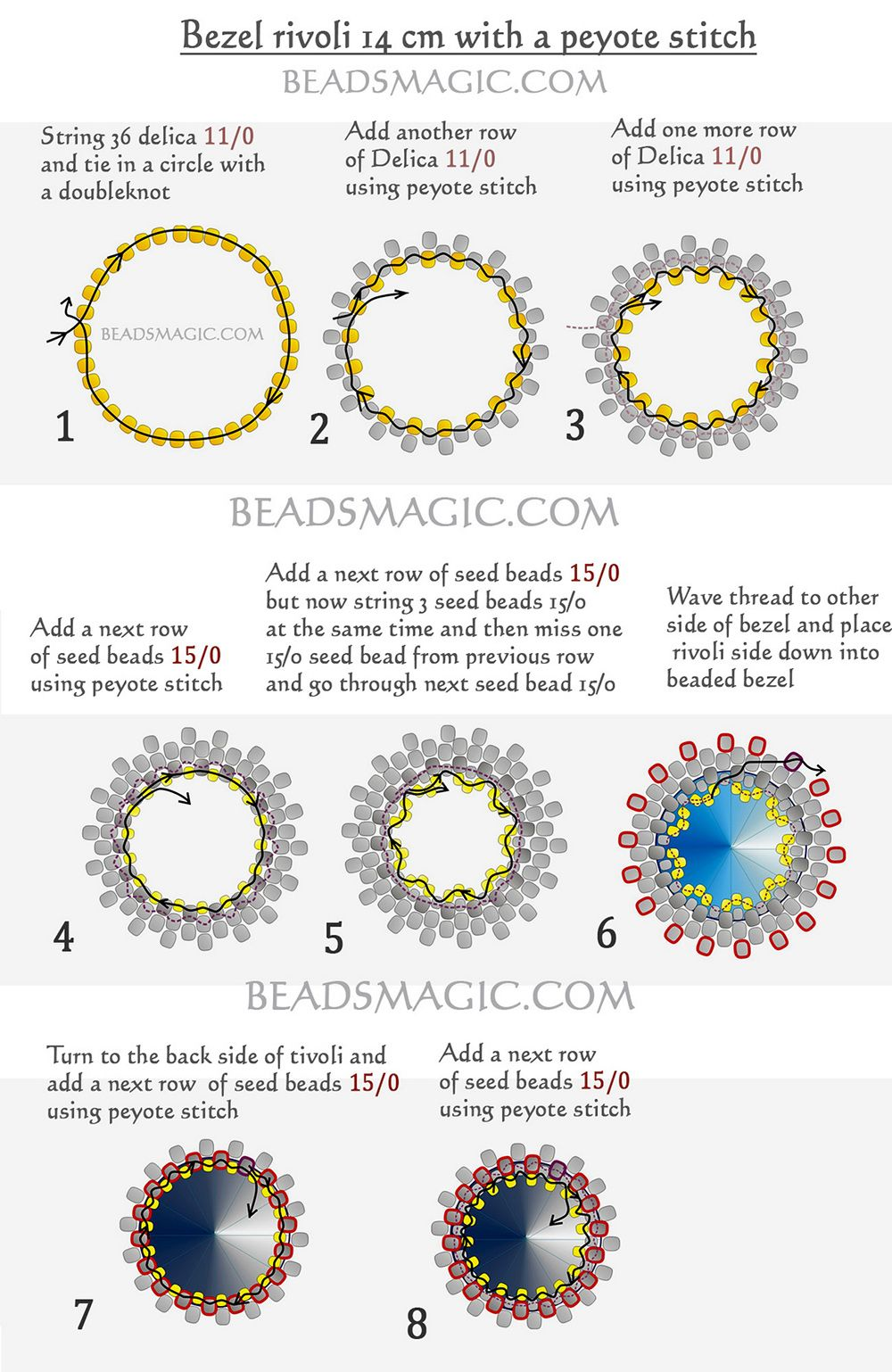 Free Tutorial For Snowflake With Rivoli Beading Beads Beaded Delica Central Locking Wiring Diagram Beautiful Swarovski U Can Use It Like Ornament Or