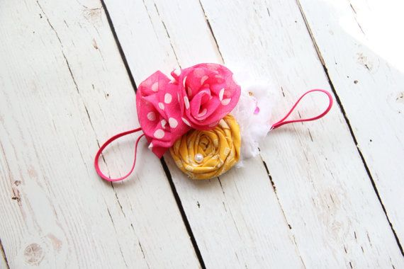 Mustard Yellow Hot Pink White Flower Cluster Headband * Handmade Baby Infant Toddler Girl Headbands * Girls Hair Accessories * Accessory