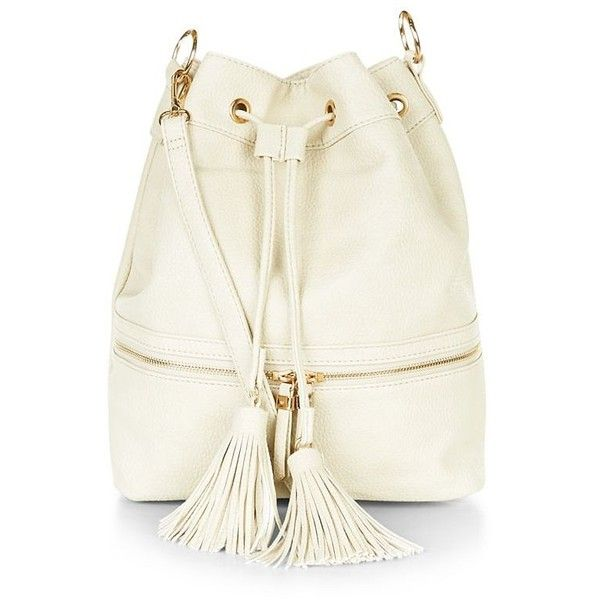 Cream Zip Panel Duffle Bag (€26) ❤ liked on Polyvore featuring ...