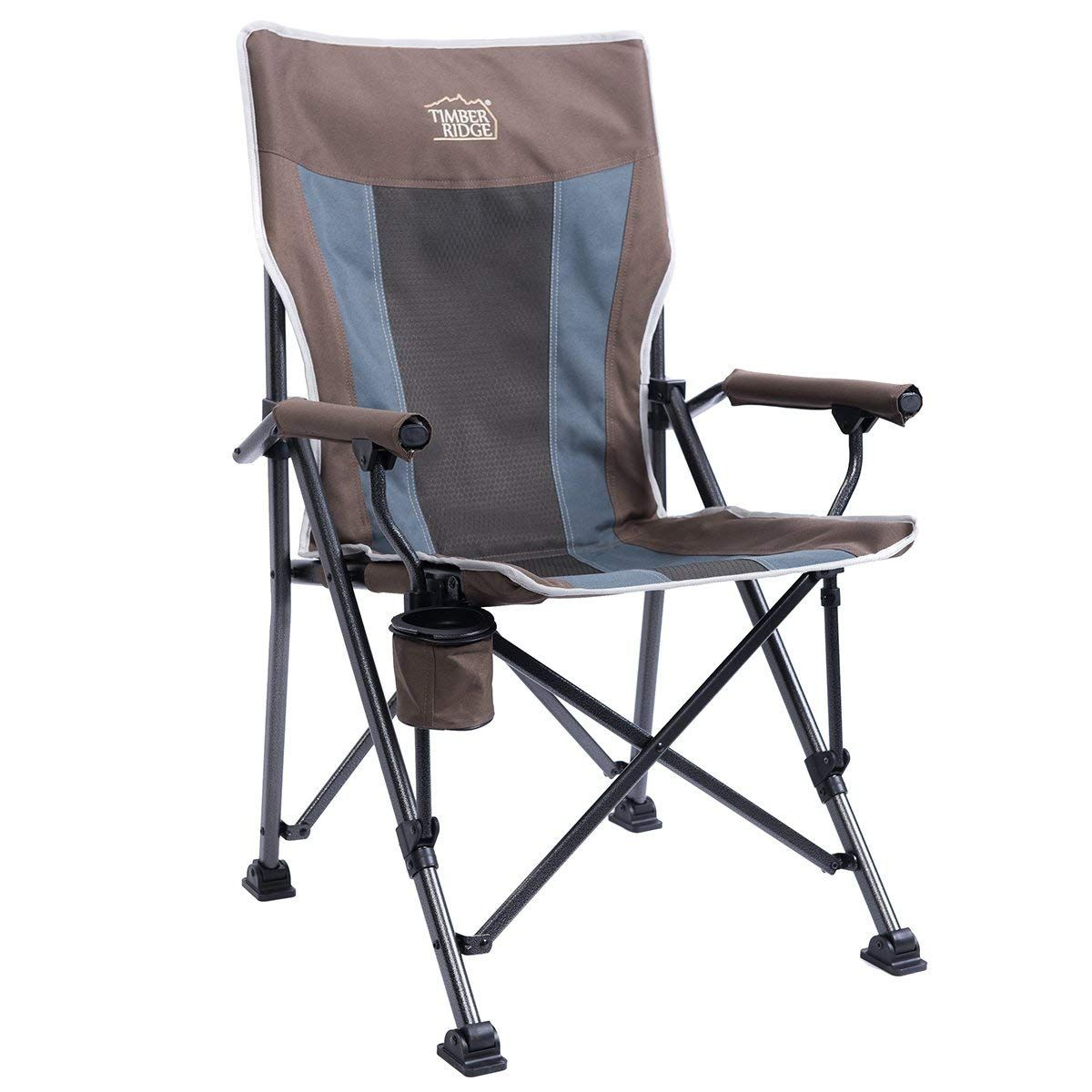 Ergonomic Folding Chair Ikea Metal Timber Ridge Camping High Back Support 300lbs With Carry Bag Quad Outdoor Heavy Duty Padded Armrest Cup Holder See The