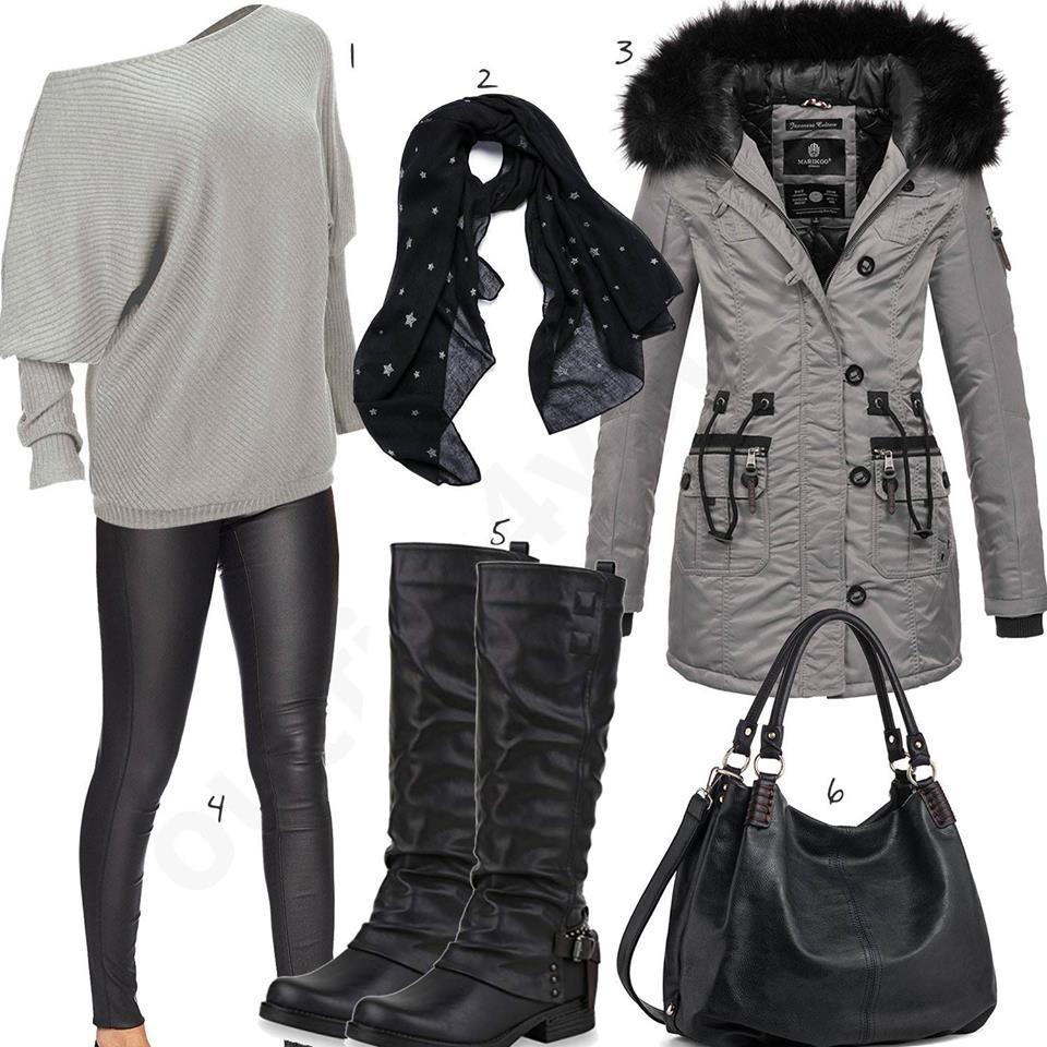 Schwarz Graues Damenoutfit Mit Pullover Und Reiterstiefeln