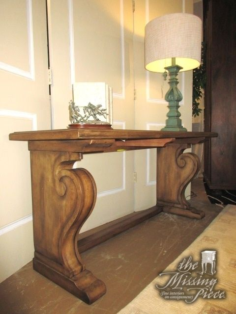 Ethan Allen Wayfarer Console Table On Carved Scroll Legs This