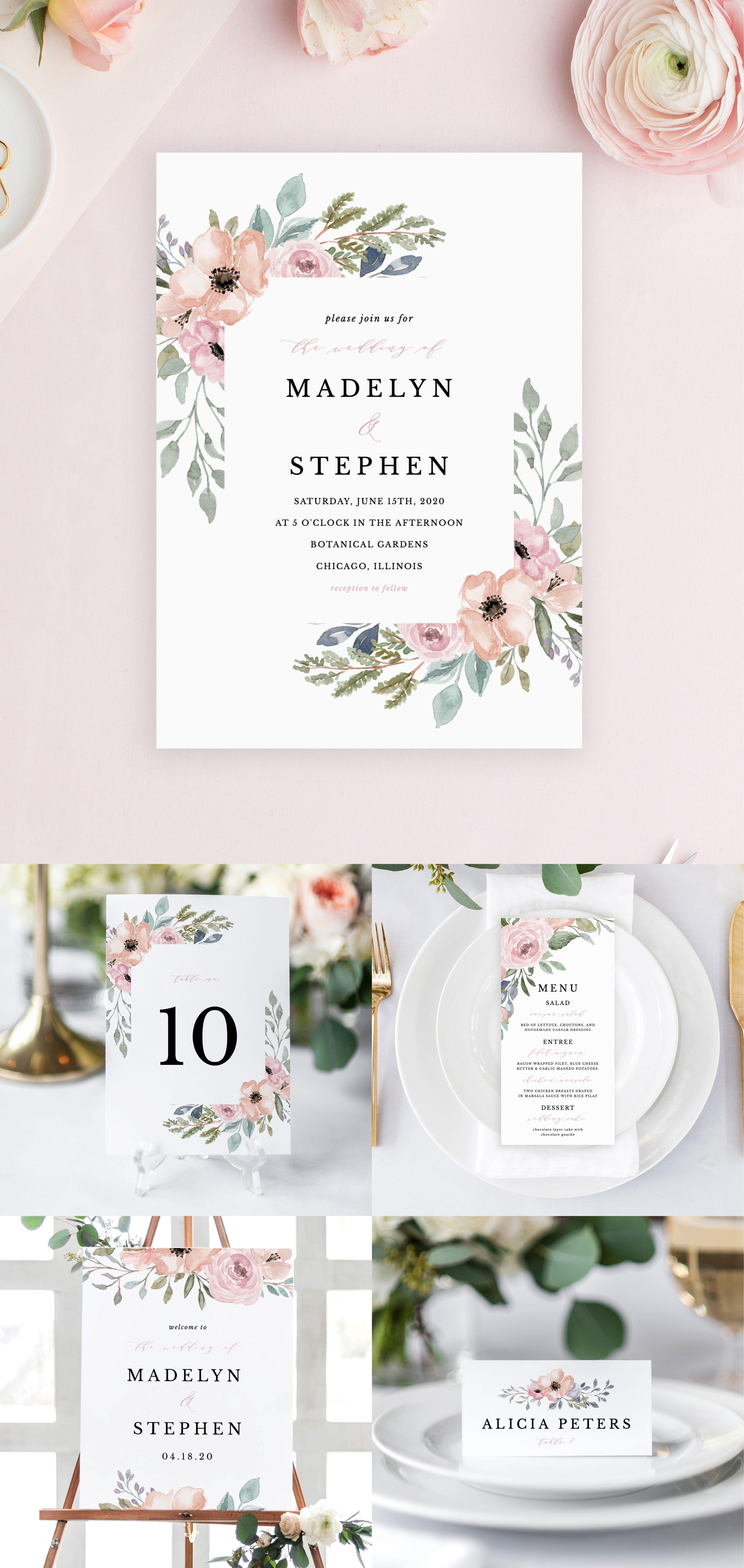 Dusty Rose Wedding Invitation Suite #dustyrosewedding