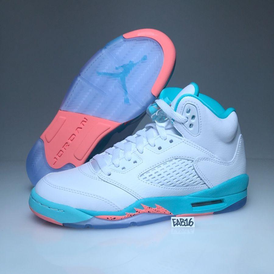Nike Air Jordan Retro V 5 White Crimson Pulse Light Aqua Black 440892-100  Girls  Retro White Crimson 2a7c6a25a
