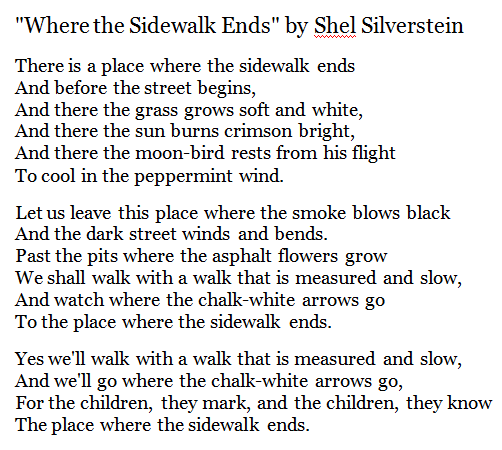 From The Great Poem: Where The Sidewalk Ends