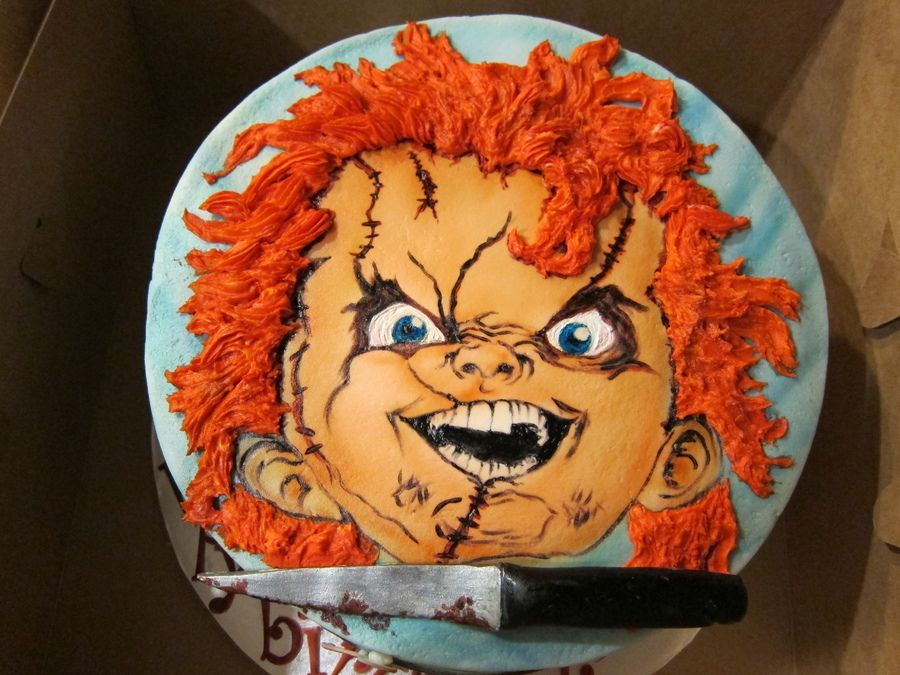 Superb Chucky Birthday Cake Cakepins Com With Images Scary Cakes Funny Birthday Cards Online Sheoxdamsfinfo