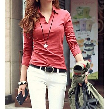 Women's Casual Turn Down Collar Solid Color Long Sleeve Blouse - USD $ 11.50