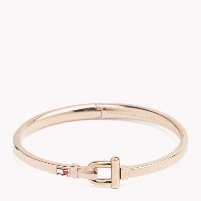 Rose Gold Plated Metal Tommy Hilfiger Bracelet, with D-Clasp Bangle
