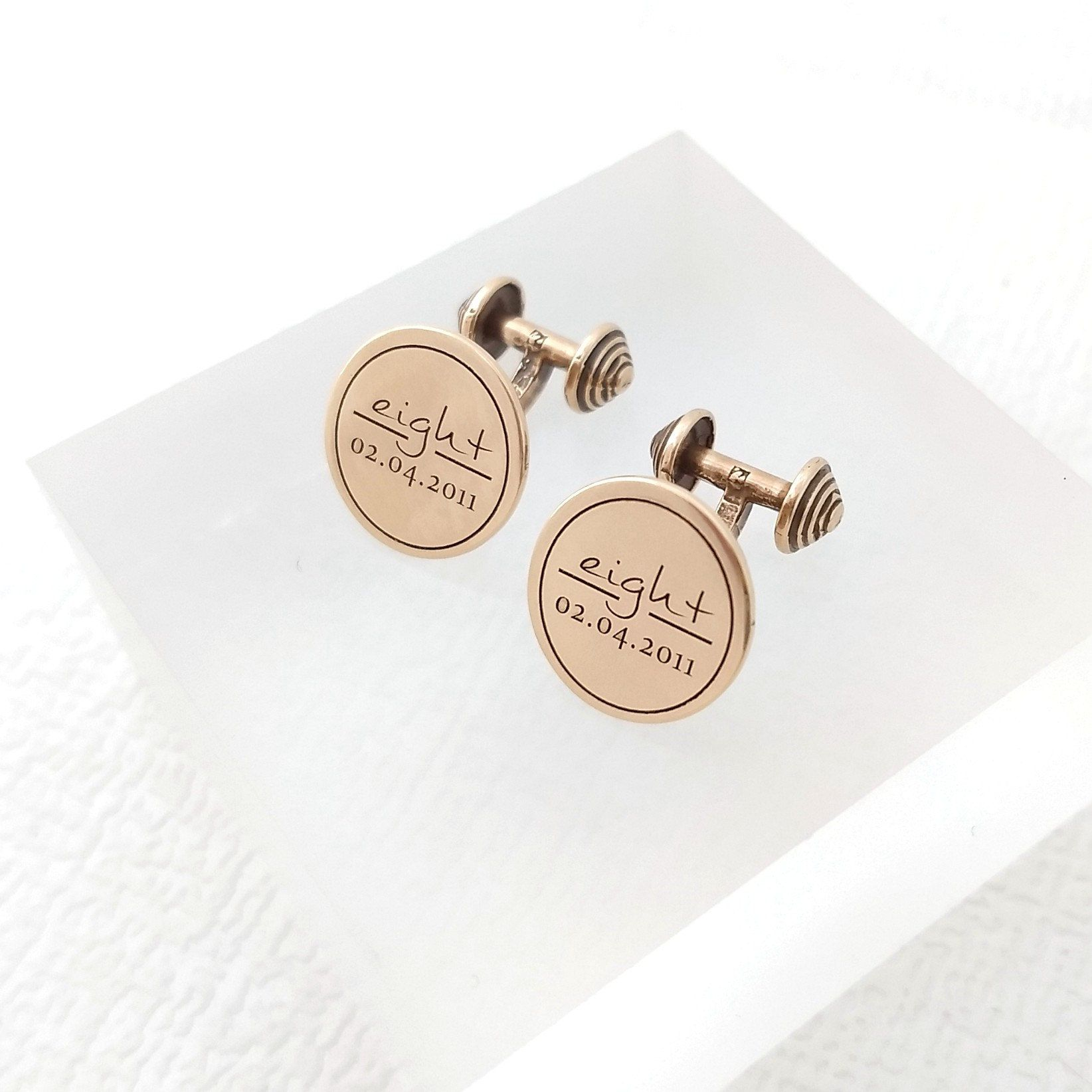 Personalised solid bronze cufflinks. 🔸The perfect 8th