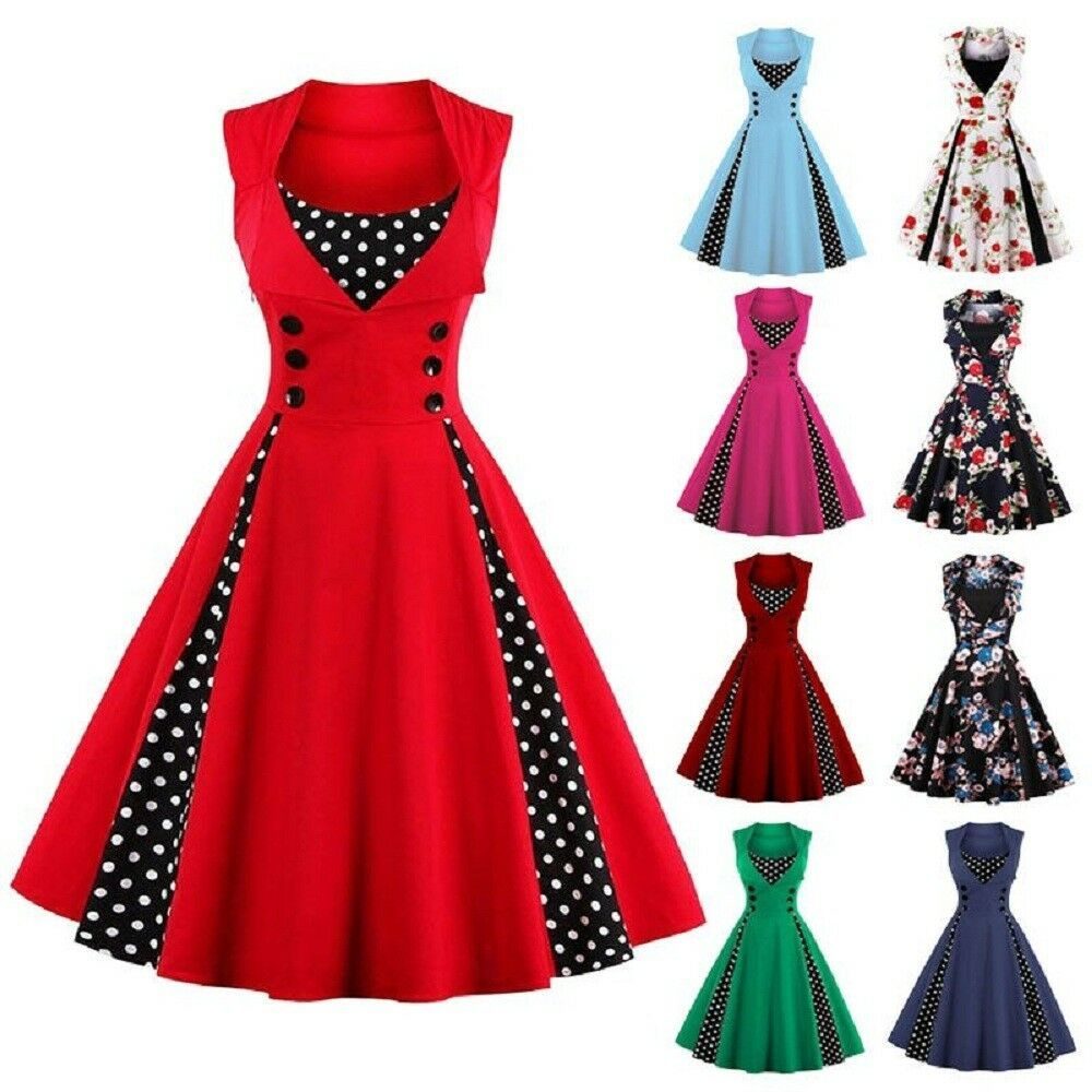 63baece1 Details about Women Vintage 50s Swing Plus Size Polka Dot Pinup ...