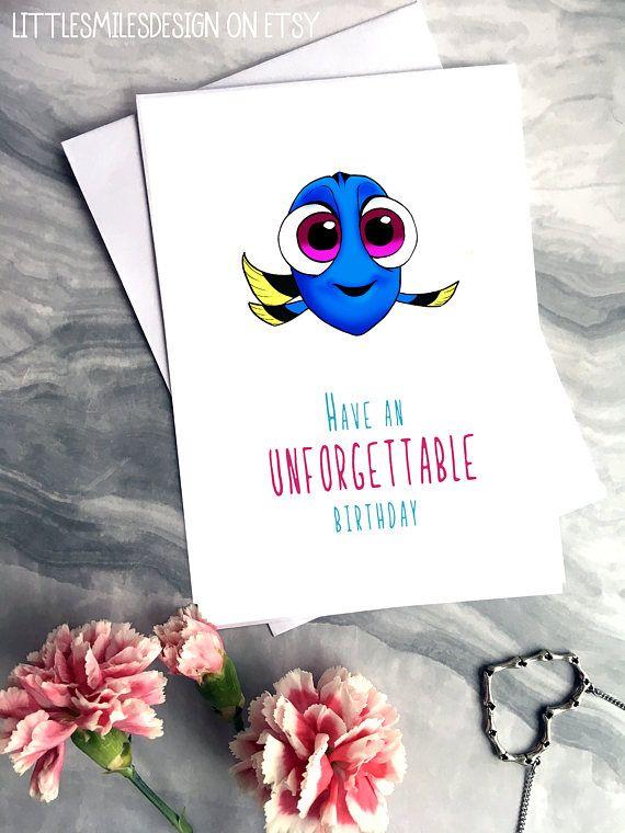 Unforgettable Birthday Disney Birthday Card Cute Card Dory