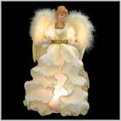14-inch-tall ivory and gold angel tree topper - lovely ivory dress accented by a flowing pleated scarf and gold sequined collar and waist - delicate wings crafted with real feathers - 10 clear miniature lights - Bronner's CHRISTmas Wonderland - $29.99