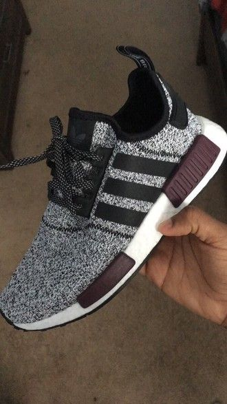 new product 0909a 5657f shoes adidas sneakers tumblr adidas shoes black and white adidas nmd  burgundy… Más