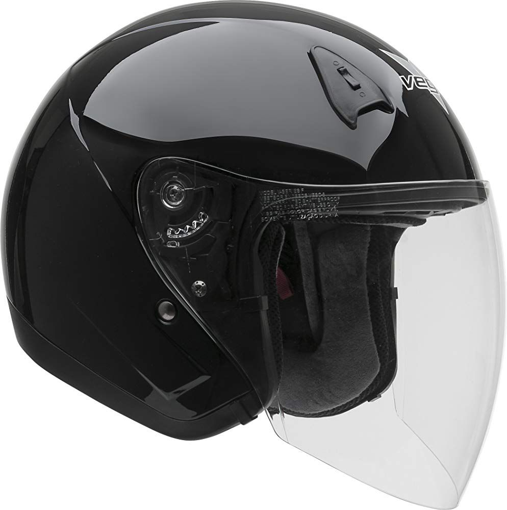 Vega Helmets VTS1 Open Face Motorcycle Helmet with Inner Sunshield – DOT Certified Full Face Shield & Visor Motorbike Helmet for Cruisers Street Bike Scooter Touring Moped Moto (Black, X-Large)