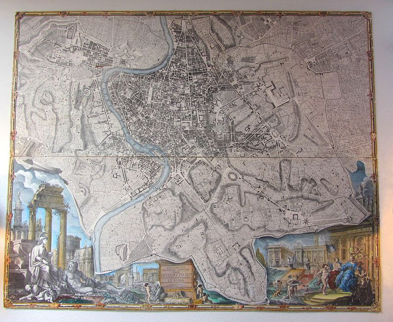 Topographic Map Of Rome.Topographical Map Of Rome Printed In 1748 And Dedicated To Pope