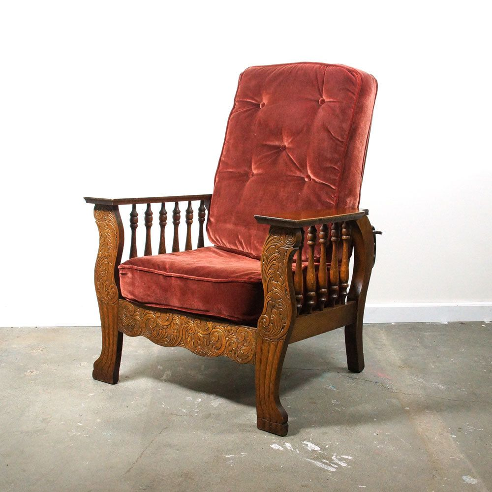 Antique Morris Chair / Carved Arts & Crafts Recliner / Mission Oak Club  Lounge Chair by - Antique Morris Chair / Carved Arts & Crafts Recliner / Mission Oak
