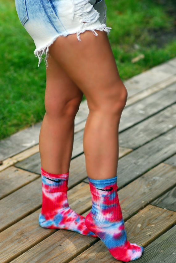 6e0f7d102 Red White and Blue Tie Dye Nike Crew Socks | Downtown Living | Tie ...