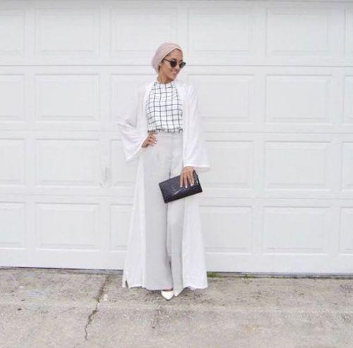 Combi haut à carreaux pantalon large grid claire gilet bl1nc avec manches