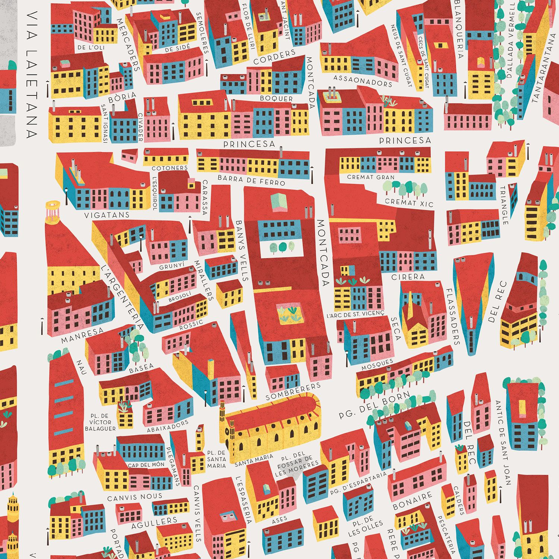 El Born Barcelona Mapa.Detalle De Mapa Ilustrado Del Barrio Born De Barcelona Por