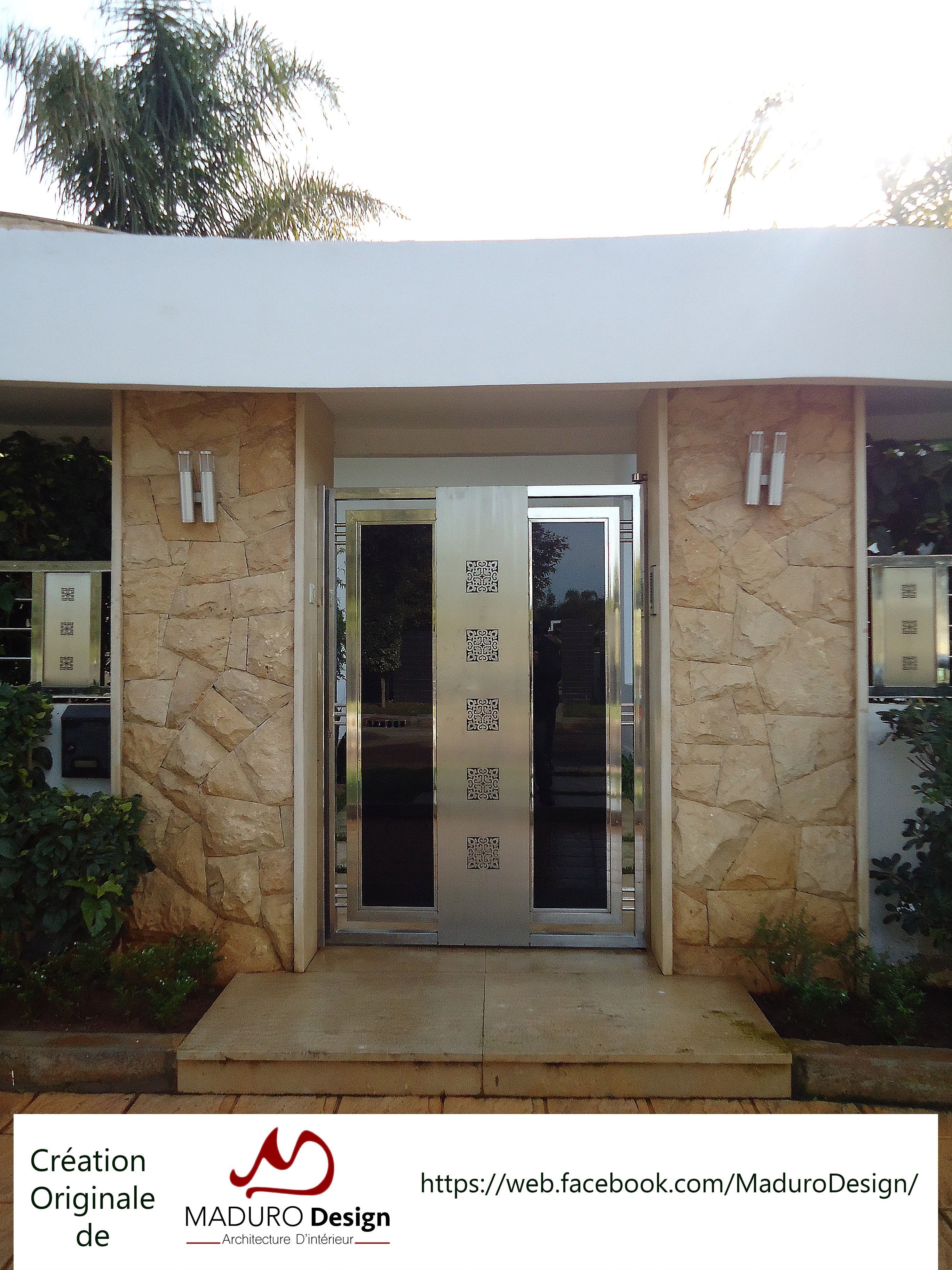 Portail Porte Villa Exterieur Inox Verre Noir Design Rabat Porte Garage House Gate Design Gate Design Architecture
