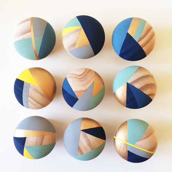 Tulip. Bundle of 8 Hand painted blue and yellow colourful door knobs ...
