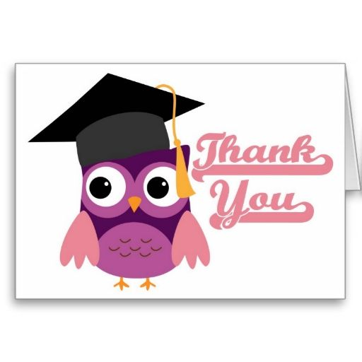 Purple Owl with Graduation Cap Thank You Card | 2017 Graduation ...