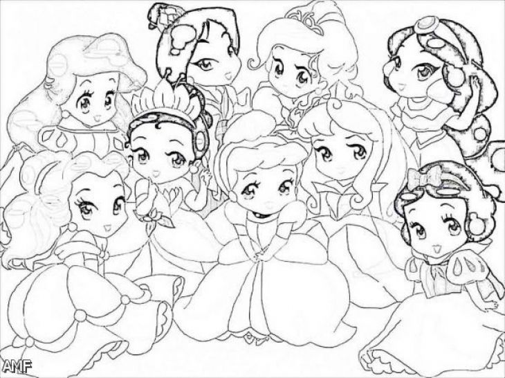 Little disney princesses very cute coloring page for girls for Cute princess coloring pages