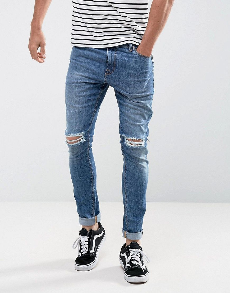 ASOS Super Skinny Jeans In 12.5oz Mid Wash Blue With Knee