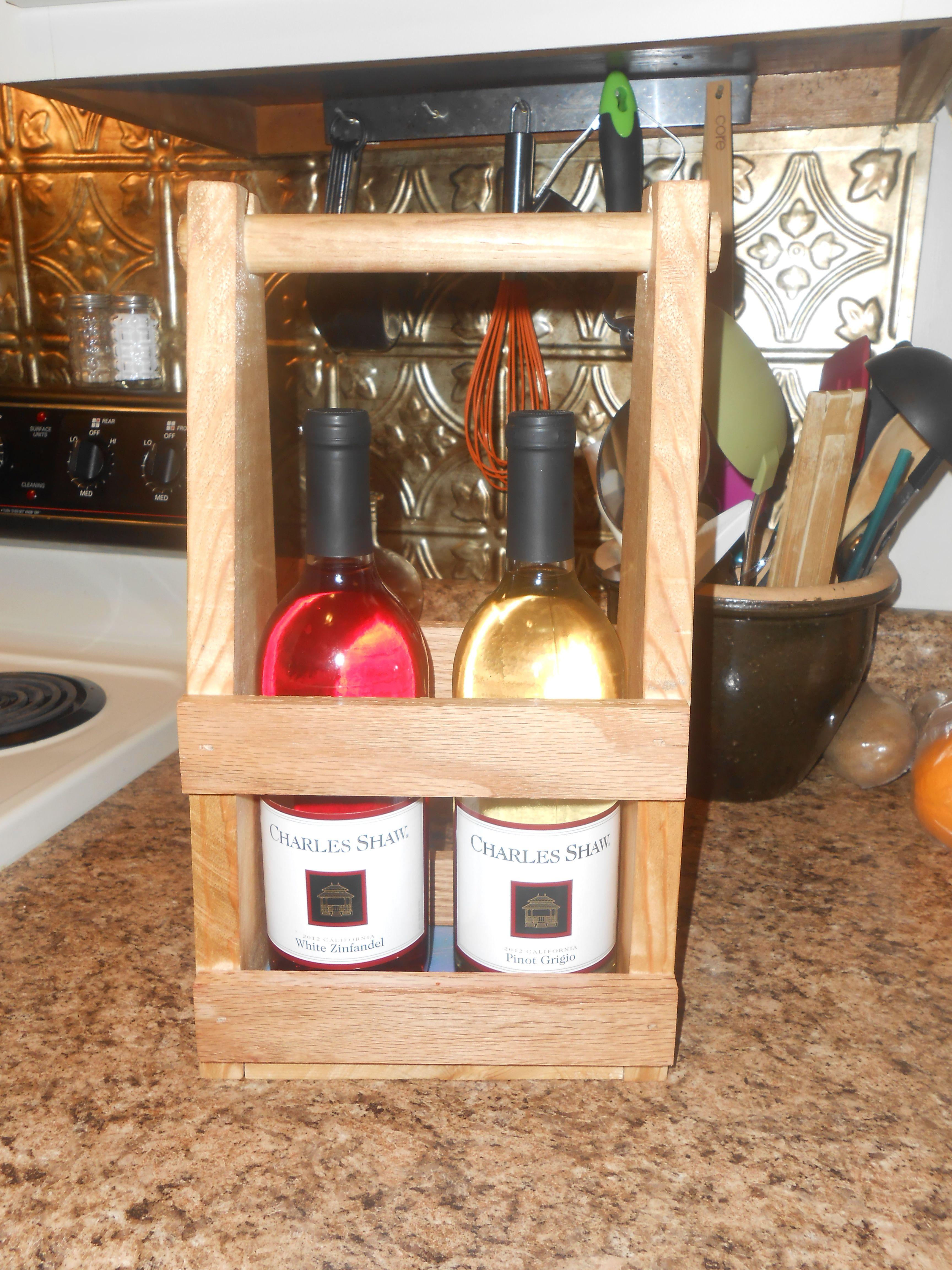 Diy wooden wine tote wooden diy wood projects wine rack