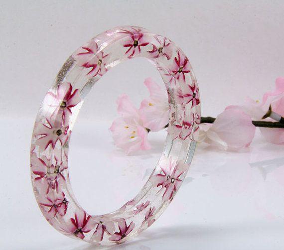 Resin and Real Flower Bracelet Pink Flower Bangle by JasmineThyme