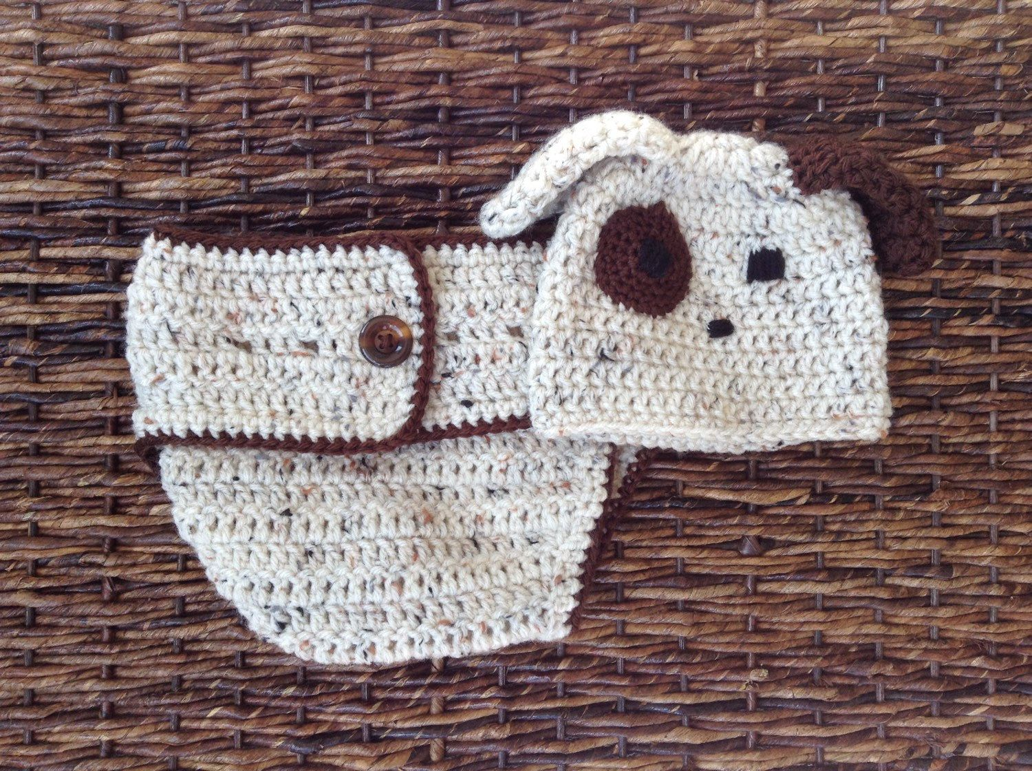 Crochet puppy dog hat and diaper cover puppy dog hat