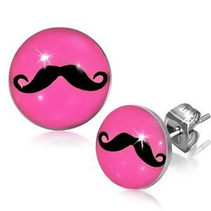 7mm Stainless Steel Mustache Pink Circle Stud Earrings Pair | eBay