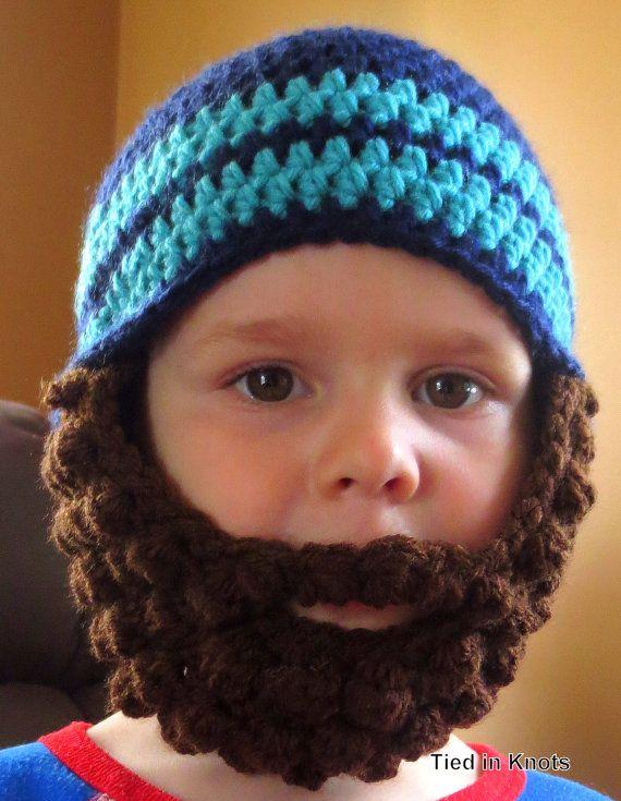 37b8043c Crochet Bearded Beanie Hat with Stripe for newborns, babies ...
