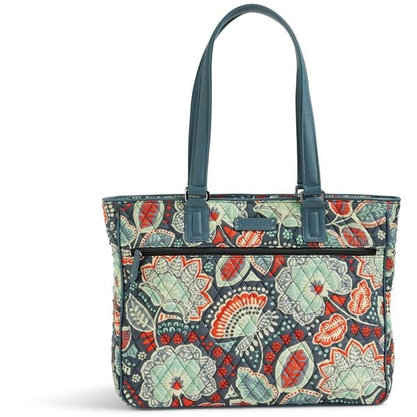 Vera Bradley Work Tote In Nomadic Floral With Gray (52.855 CRC) Liked On Polyvore Featuring Bags ...