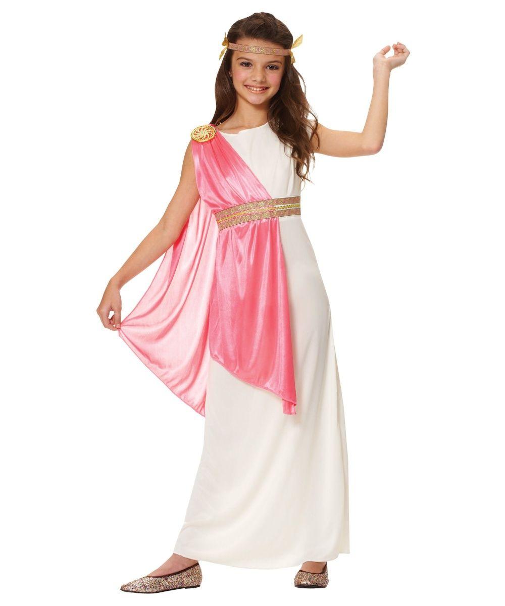 Roman Girl Dress Costume Sash Book Week Goddess  Fancy Dress Kids Ancient Outfit