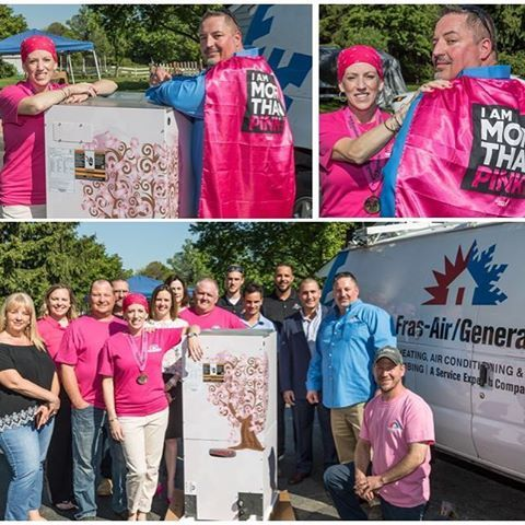 Our team at Fras-Air/General Service Experts was thrilled to jump at the chance to help Shannon, a breast cancer fighter. They partnered with Lenox to provide her a free air conditioning system when her old system went out. They even wrapped her air handler in pink with an image of a tree with pink ribbons!