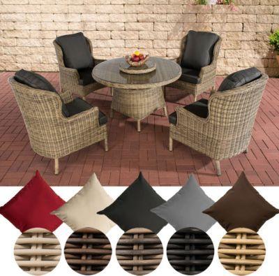 Gartenstühle rattan rund  Poly-Rattan Gartenmöbel Sitzgruppe JARDIN, 5 mm RUND Rattan (4 ...