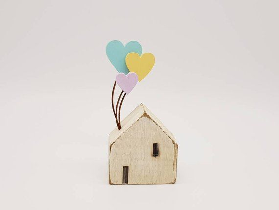 Pastel heart cottage Etsy listing at https://www.etsy.com/uk/listing/628016785/little-wooden-folk-art-cornish-cottage #pastels #hearts #littlewoodenhouse #tinyhouse #cottage #handmade #etsyshop #giftideas #pastelrainbow