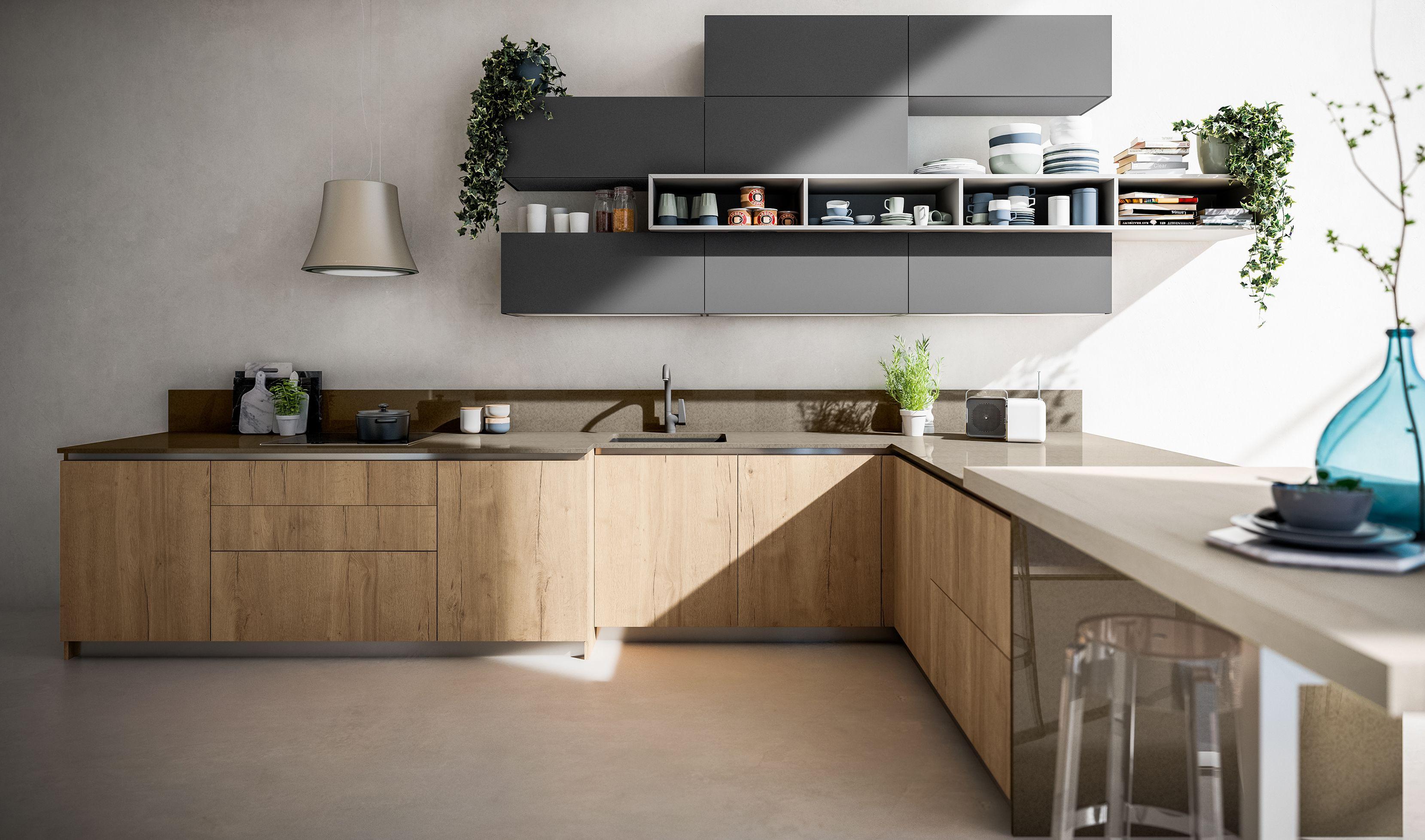 Le nuove cucine Arrex in laminato ad effetto legno presentano ...