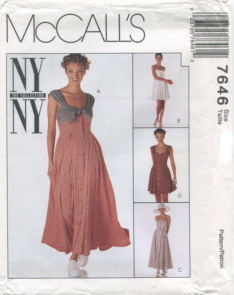 0de4183072e McCalls 7646 Misses Dresses Sewing Pattern ~ Uncut