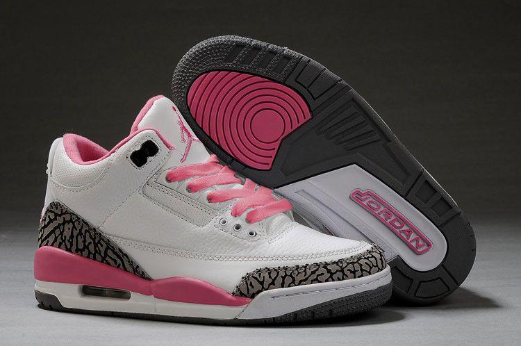 NIke Air Jordan 3 femme rose blanc
