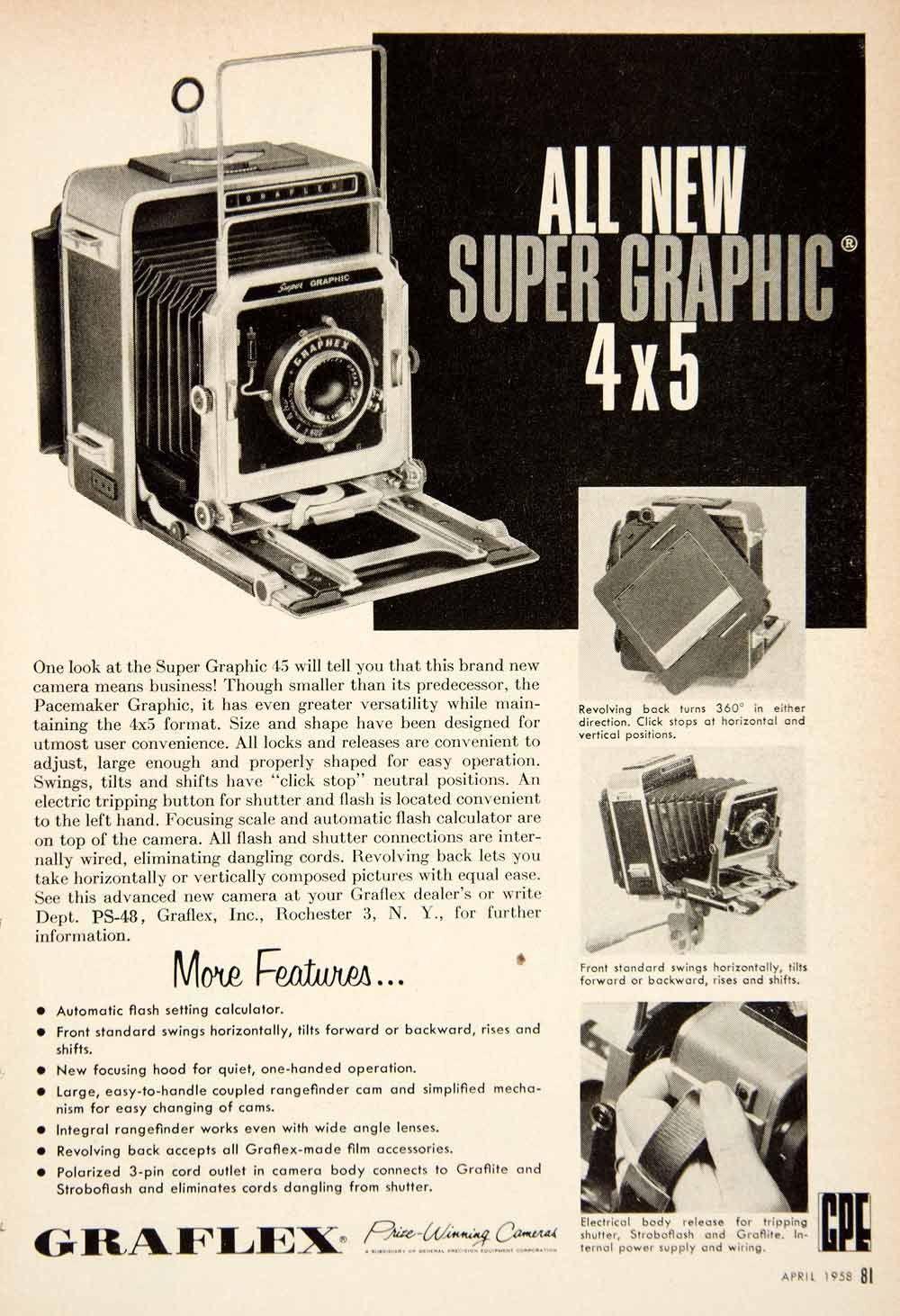 1958 Ad Super Graphic 45 Camera Photography Graflex General