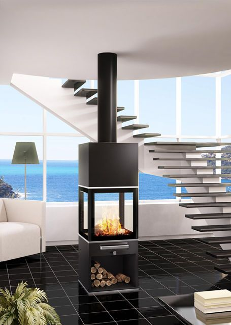 po le bois central contemporain double combustion kubic seguin chimenea pinterest. Black Bedroom Furniture Sets. Home Design Ideas