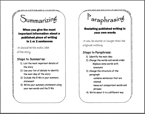 Summarizing and paraphrasing worksheets venn diagram