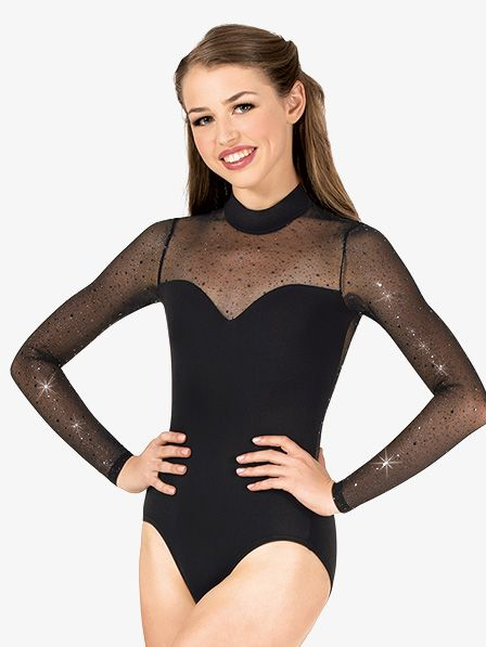 7cde7e7722 Body Wrappers Womens Performance Twinkle Mesh Mock Neck Long Sleeve Leotard