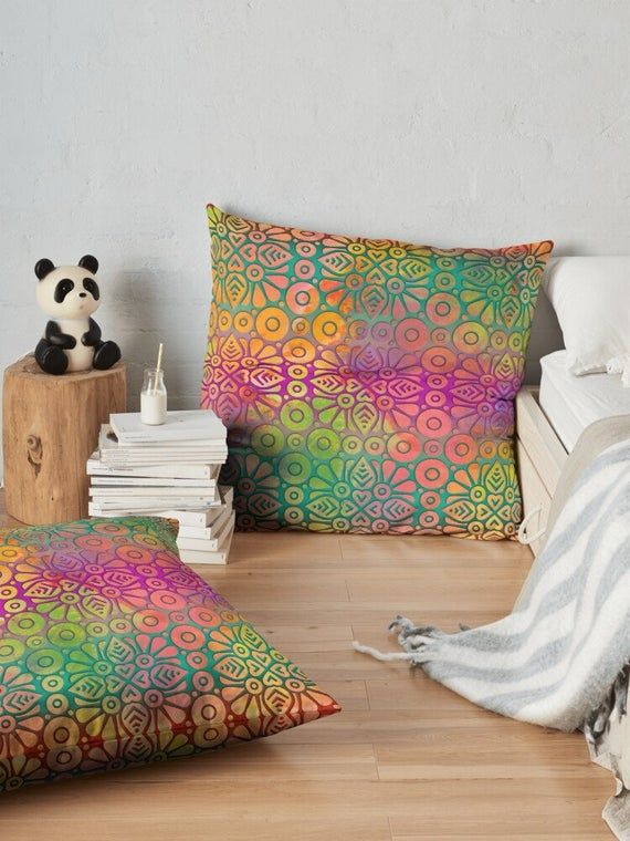 Decorative Pillow, Moroccan pillow, Throw pillow, Colorful Lumbar pillow, Ethnic pillow, Geometric p